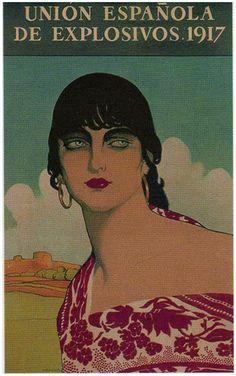 Calendarios de pared de la empresa Unión Española de Explosivos - Manuel Benedito Vives - Morena de ojos azules, 1917