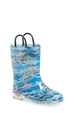 Western Chief 'Shark Chomp' Light-Up Rain Boot (Toddler & Little Kid) available at #Nordstrom