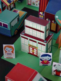 printable neighborhood - school paper toy - Print and make an entire neighborhood of 30+ houses, business, people, and cars! SmallforBig.com
