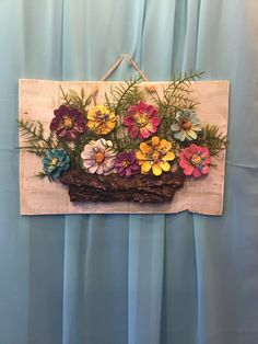 Pine cones - Hand made pinecone flowers on reclaimed barn wood wall barn flowers Hand pinecone reclaimed Wall wood BuzzTMZ Kids Crafts, Fall Crafts, Wood Crafts, Christmas Crafts, Diy And Crafts, Arts And Crafts, Kids Christmas, Pine Cone Art, Pine Cone Crafts