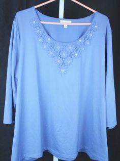 Susan-Graver-Butterknit-3-4-Sleeve-Lace-Applique-Scoop-Neck-Knit-Top-Size-2X