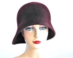 Linda Crochet Chemo Cloche Hat with Brim for Women in Spring in Cranberry Red 4 Adult Size Options Wear with a Short Bob or any Hairstyle