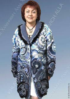 """Купить Пальто """"Непредсказуемая фантазия"""" мод.№122 - пальто, фриформ, женский трикотаж, трикотаж"""