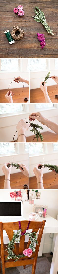 DIY herb wreath for the office