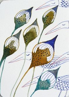 seed pods and birds by Lilla Jizo