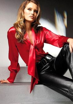 Red satin blouse
