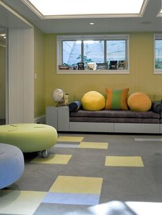 , Amusing Nobby Kids With Cool Basement Carpet Design As Wall To Wall Carpeting Concept Also Mod Gray Couch Also Attractive Green & Blue Padded Stool With Wheels Also Modern Loft Windows Design: Basement Carpet to Complete Your Basement
