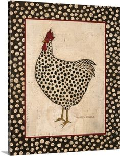 Warren Kimble Premium Thick-Wrap Canvas Wall Art Print entitled Spotted Chicken, None