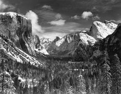 yosemite valley winter by Ansel Adams
