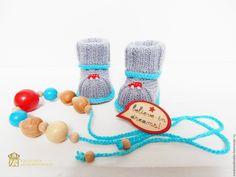 """Купить """" Believe in dreams """" подарок для будущей мамы - голубой, пинетки для новорожденных"""