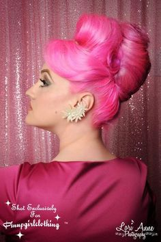 Beehive with a pink twist! Hair by His Vintage Touch Hairstyling for the Pinup Girl Boutiquehttps://www.facebook.com/photo.php?fbid=10200370540538165