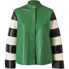 ACNE Leather Jacket with Striped Sleeves ($1,615) ❤ liked on Polyvore featuring outerwear, jackets, coats, stand up collar leather jacket, genuine leather jackets, long sleeve jacket, leather jackets and stand collar jacket