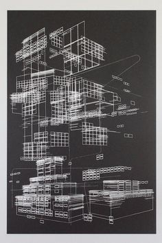 """Line objects benkafton Screen printed with white ink on 80 french black speckletone stock paper. 24 x 36 inches x 92 centimeters). Architecture Graphics, Architecture Drawings, Concept Architecture, Gothic Architecture, Architecture Design, Axonometric Drawing, Map Of New York, Conceptual Drawing, Pictogram"