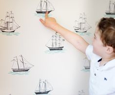 These fabric wall decals from @popandlolli would make the perfect accent wall in a nautical nursery!