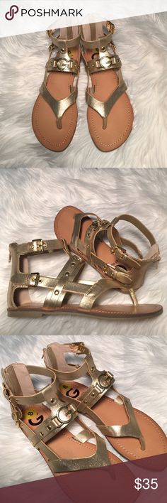 •Guess Gladiator Sandals• Gold gladiator inspired sandals/back zipper closure/rubber outsole/new without box/thanks for looking Guess Shoes Sandals