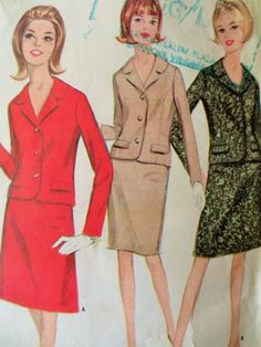 Vintage McCall's 8488 Sewing Pattern, 1960s Suit Pattern, Mod Suit, Slim Skirt…
