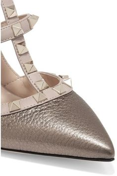 Valentino - Rockstud Metallic Textured-leather Pumps - Bronze