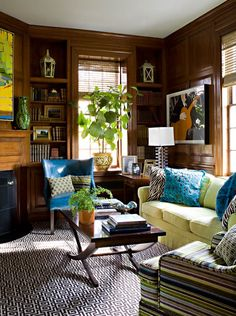 Inviting room of Panelled walls and color
