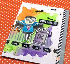 MFT Frightful Friends | Mijello Mission Gold Watercolors | AmyR Halloween Card Series #1