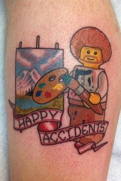 "This Bob Ross Lego who believes in ""happy accidents."" 32 Lego Tattoos That Will Thrill Your Inner Child Girly Tattoos, Bad Tattoos, Little Tattoos, Cool Tattoos, Tatoos, Worst Tattoos, Awesome Tattoos, Interesting Tattoos, Sweet Tattoos"