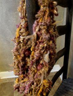 Art Yarn, Suri Alpaca, Handspun, 34 Yards, Natural and Hand-Dyed, Watercrest, Citrus, Browns