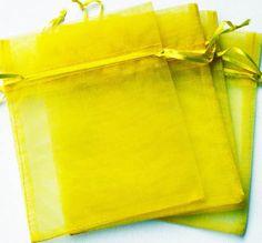 50pcs 9x12cm (3.5x4.5inch) Solid Yellow Drawstring Organza Gift Bag Pouch Wedding Xmas New Year Birthday Party by AnneJewelryAcc, $5.97