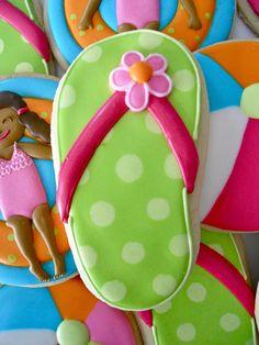 Flip flop decorated sugar cookies. Royal icing. Green, pink. Polka dots.