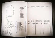 Dog or puppy care habit tracker bullet journal design by Karen Fritsche