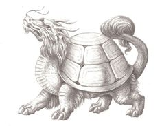 Dragon turtle- Chinese myth: a creature that combines two of the four celestial animals. It had the body of a turtle and a dragon head. it symbolized courage, determination, fertility, longevity, power, success, and support. All Mythical Creatures, Mythological Creatures, Magical Creatures, Fantasy Creatures, Fertility Symbols, Dragon Mythology, Vampire Stories, Chinese Mythology, Dragon Head