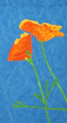 close up, Poppy quilt by Dorinda Goff. A tribute to Antelope Valley California Poppy State Natural Reserve.