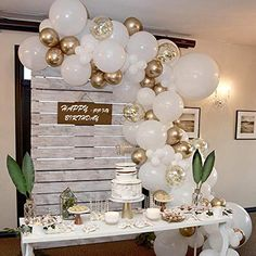 70 Pcs Balloon Garland Arch Kit, Gold and White Balloons, Golden Confetti Balloons, Gold Metallic Chrome Latex Balloons for Birthday Party Decorations Baby Shower Wedding Baptism Party Decorations, Balloon Decorations Party, Baby Shower Decorations, Balloon Arch Diy, Balloon Garland, Balloon Balloon, Balloon Ideas, Gold Confetti Balloons, Ideas Party