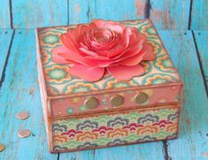 Dollar Store Gift Box decoupaged with patterned paper and Paper Flower