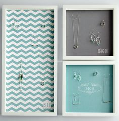 Hanging wall jewelry display case: No idea what kind of jewelry she likes? Sidestep the issue with this monogrammed hanging case, which comes in more than a dozen patterns and colors.