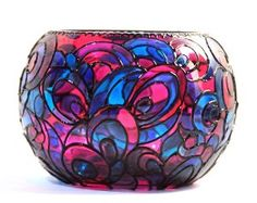 Hand Painted Glass Round Bowl