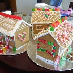 This is one my mum in England used to make when we were kids.  It was always the biggest hit every year.  Use your imagination and a variety of candies to make doors, windows, pathways, and a garden.  Note, this gingerbread house takes 2 to 3 days to complete. You can buy a variety of candies for decoration.