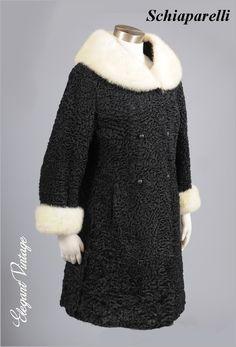 1950's Schiaparelli lamb and white mink coat