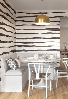 VINYL ZEBRA WOOD - Rich and rustic, the look of multicolor wood planks with a bold abstract stripe for a touch of graphic drama is available in PERFORMANCE VINYL - merging luxe design with the durability and technology offered by today's performance wallcoverings. #animalprint #eclecticdecor #bohemiandecor #wallpaperpattern #livingroomdecor #diningroomdecor #bedroomdecor #bathroomdecor #wallcovering #wallpaper