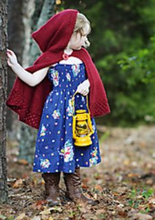 Several years ago my eldest daughter received a Red Riding Hood cape as a gift from Grandma. The cape has been a favorite ever since, passing from child to child until my youngest child outgrew it and could not wear it any more. Since we could not find a bigger red cape in the stores, I thought it would be a good idea to knit one.