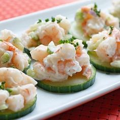 Skinny Shrimp Salad On Cucumber Slices