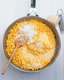 Vegetable oil, 6 cups fresh corn (about 8 ears), salt and pepper to taste, heavy cream, chicken stock, 1 cup Parmesan