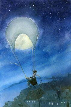 """Moonrise"" a Jen Betton Illustration Art Carte, Moon Dance, Sun Moon Stars, Moon Magic, Art Et Illustration, Beautiful Moon, Moon Art, Moon Child, Whimsical Art"