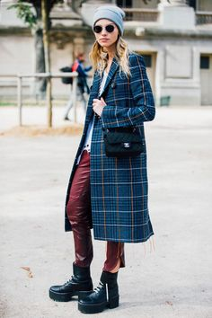 fall winter, street style, gray beanie, sunglasses, blue green plaid coat, red leather pants, platform booties