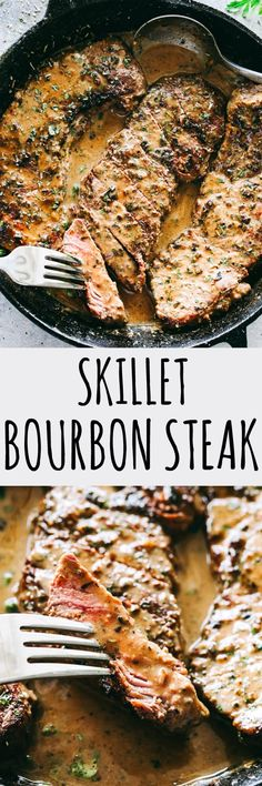 Skillet Bourbon Steak Recipe – Pan seared juicy sirloin steaks prepared with a dijon mustard rub and an incredible creamy bourbon sauce. A one pan recipe that is SO simple and SO darn delicious! #bourbonsteak #skilletsteak