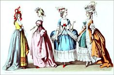 Rococo fashion in the Reign of Louis XVI. 1774 to 1780.