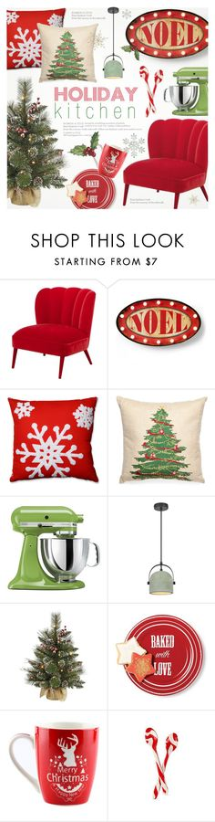 """""""❄ Holiday Kitchen Decor """" by alexandrazeres ❤ liked on Polyvore featuring interior, interiors, interior design, home, home decor, interior decorating, Lands' End, Pillow Perfect, Peking Handicraft and KitchenAid"""
