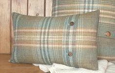 Pure Wool Tartan / Tweed / Plaid Cushion / Lumbar Throw Pillow Cover - Green / Blue Tartan - Handmade in UK - Hunting Lodge - 20 x 12