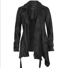 NWT!All Saints assymeric lether biker jacket Size UK 12,US 8(fit runs small) New with tag. Great quality leather. Missing belt. No Trade. All Saints Jackets & Coats