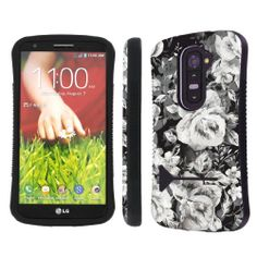 LG G2 ( Verizon, AT&T , T-Mobile , Sprint ) Ultra Shock Absorbent Tough Grip Black Case with Kickstand By SkinGuardz - Rose Party SkinGuardz,http://www.amazon.com/dp/B00G8Q72YM/ref=cm_sw_r_pi_dp_oDFltb0F40P5CPFM