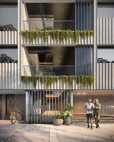 Visualisation by SJB Villa Design, Facade Design, Warehouse Living, Tower Design, Building Facade, Facade Architecture, Exterior, Projects, Double Skin