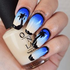 Instagram media by naailsbyjulia - Some tropical islands, inspired by @so_nailicious! I will post a tutorial of these tomorrow on my #facebook page and it will also include polish info #nails#by#me#nailart#tropical#island#exotic#sunset#blue#palmtree#black#beauty#fashion#style#stylish#girl#girly#manicure#nailpolish#opi#essie#instanail#nailswag#instagood#nailpromote @nailpromote @opisverige @opi_products